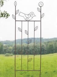 Metall Spalier  mit Vogel und Blatt Motiv